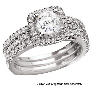 Surprise her with a gorgeous Diamond Ring in 18kt White Gold with a Square Halo!