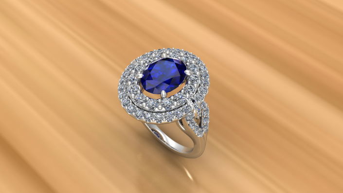 This is a beautiful custom designed ring.  Sapphire set with a double halo of diamonds to shine around this gorgeous stone.