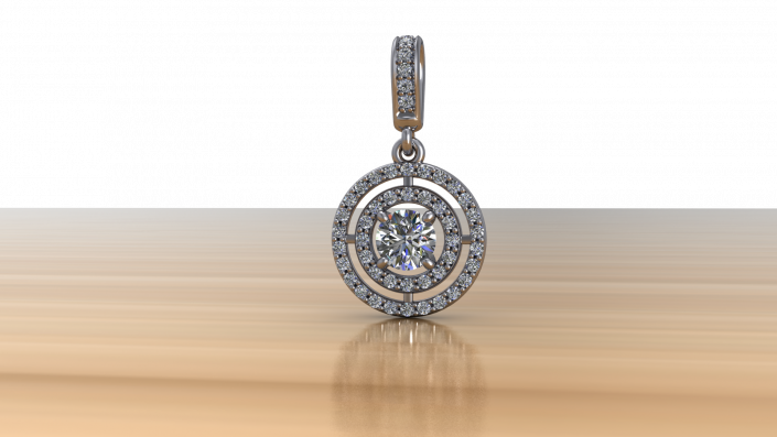 This exquisite custom pendant is crafted from white gold and a double halo to complement a single karat diamond in the center.