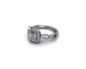This classy ring displays one's love for another as it sparkles in the sunlight.  The band looping to add beautiful detailing to a cushion set diamond.