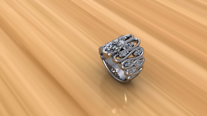 As this unique design twists and turns, it is met with diamond embellishments to complement its fun style.