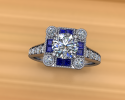 This gorgeous ring highlights both diamonds and sapphires.  Its custom design allows it to shine brightly in the future bride's favorite stones in such a unique way.