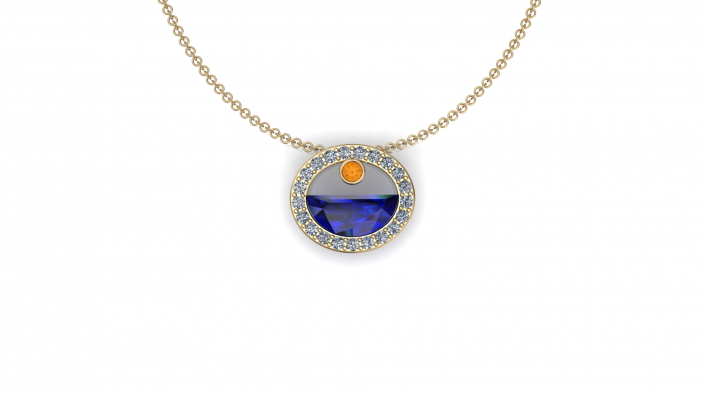 This exquisite piece was designed to resemble the sun setting over the ocean.  As a citrine stone acts as the sun setting over a sapphire ocean it is encompassed by a golden halo of diamonds.