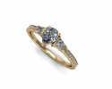 This stunning design features a pear-cut stone encompassed by a gold band.  The diamond detailing around this ring gives it a classy and elegant feel perfect for any bride to be.