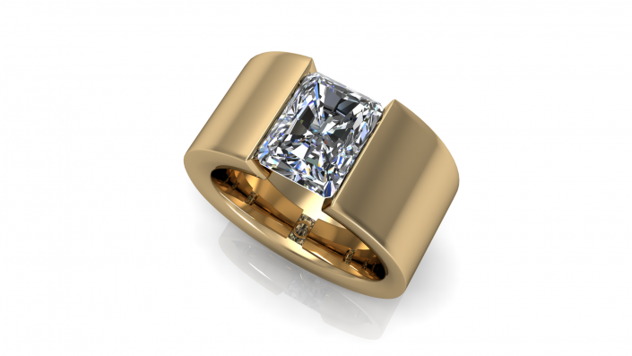 This golden band highlights a rectangle stone, surrounded by a stunning gold band.