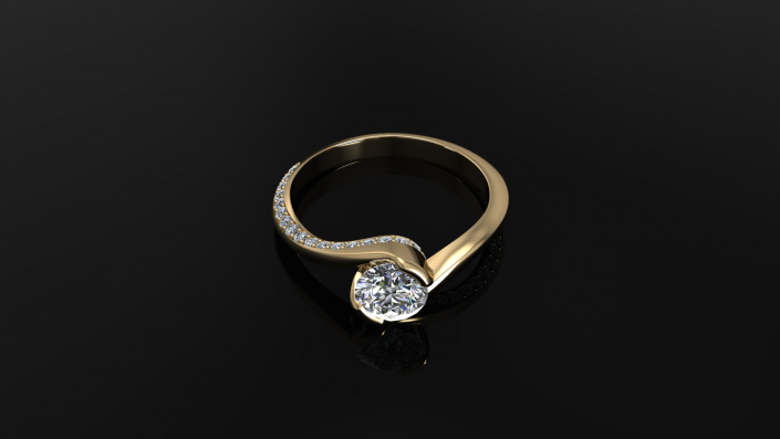 This gorgeous ring is crafted to sparkle in beauty from every angle.  It displays a round diamond as it is wrapped snugly by a gold, diamond-encrusted band.