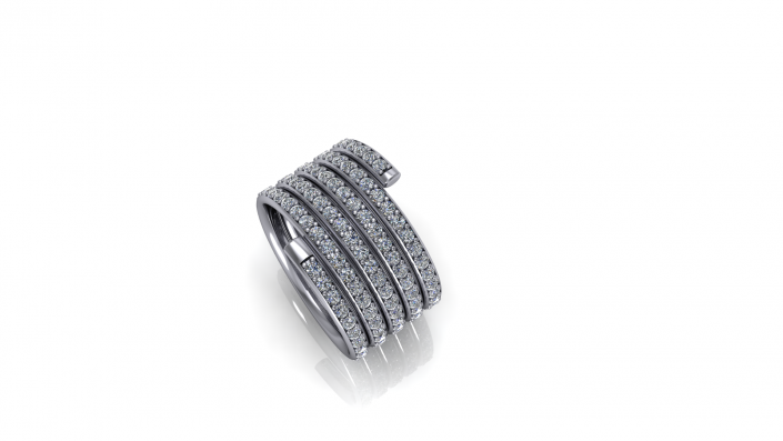 This is an exquisite custom design.  Giving the stacked ring feel this white gold brand is crested with the most beautiful diamonds to compliment it.