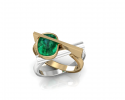 Silver, gold, and emeralds come together to create this beautiful geometric ring.  Full of personality and wonder this custom design is crafted to reflect the story of the one who wears it.