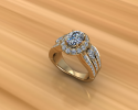 This gold ring features an oval diamond with a halo surrounding it.