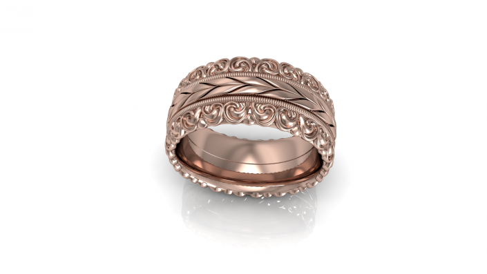 This stunning rose gold band is embellished with beautiful designs that complement it beautifully.
