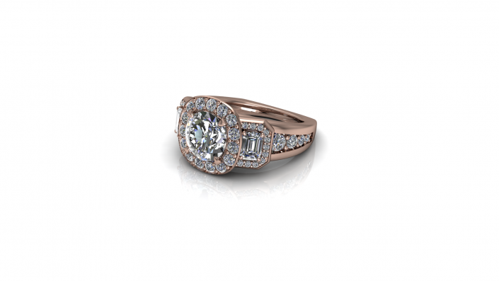 A rose gold band that beautifully fits the bride that wears it.  Highlighting 3 stones and crested with smaller stones, this ring was crafted to hold the utmost beauty.