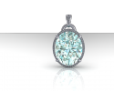 This is a stunning custom pendant with an aquamarine center stone and diamond halo surrounding it.  Crafted with sterling silver this pendant is the perfect illustration of what we can create for you at J Olivers.