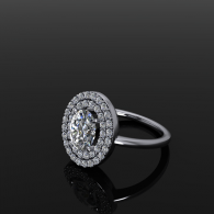 Double Halo Oval Engagement Ring